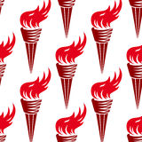 Seamless pattern of red burning torches Royalty Free Stock Images