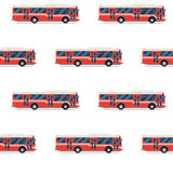 Seamless pattern of red buses. Royalty Free Stock Images