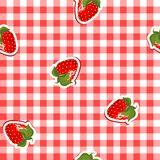 Seamless pattern with red canvas and strawberries. Seamless pattern with red and white canvas and strawberries Royalty Free Stock Photography