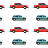 Seamless pattern of red cars Limo sedans Stock Photo