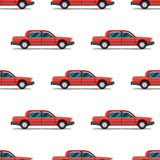 Seamless pattern of red cars Limo sedans Royalty Free Stock Photo