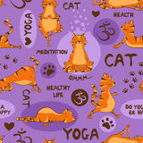Seamless pattern with red cat doing yoga position. Stock Photo
