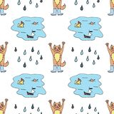 Seamless pattern with red cat in rubber boots, puddle and rain drops. Colorful sketch. Vector illustration stock illustration