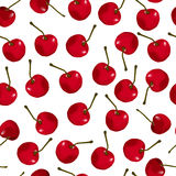 Seamless pattern of red cherries. On a white background. Cartoon style. Vector illustration Royalty Free Stock Photography