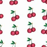 Seamless pattern with red cherry berry watercolor, juicy element for design textile, brand, package ,wallpaper vector illustration