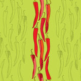 Seamless pattern with red chili peppers Royalty Free Stock Photo