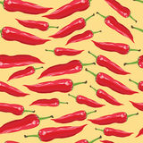 Seamless pattern with red chili peppers - Illustration. Seamless pattern red chili peppers on a yellow background Stock Image