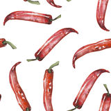 A seamless pattern with the  red chili peppers. Painted hand drawn in a watercolor on a white background Stock Photo