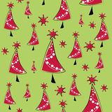 Seamless pattern with red Christmas trees Royalty Free Stock Images