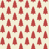 Seamless pattern with red Christmas trees. Stock Photography