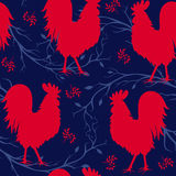 Seamless pattern with red cock. Fire cock. Symbol of 2017. Stock Image