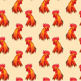 Seamless pattern Red Cock. Seamless new year red cock head pattern Royalty Free Stock Image