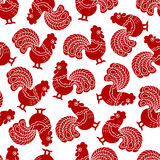 Seamless pattern with red cock, rooster - symbol of New Year 2017. Seamless pattern with red cock, rooster - symbol of New Year 2017 on white background. For Stock Image