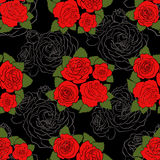 Seamless pattern with red colored and lined roses Stock Photography