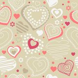Seamless pattern with red contour shapes Stock Photography
