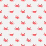 Seamless pattern with red crabs on white background. Vector Illustration Stock Photos