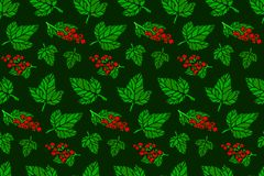 Seamless pattern with red currant and green leaves Royalty Free Stock Photography