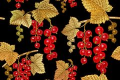 Seamless pattern with red currant. vector illustration