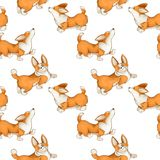 Seamless pattern with red cute dogs. Corgi puppies on a white background. royalty free illustration
