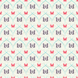 Seamless pattern with red and dark butterflies and turquoise curves stripes on crumpled paper. Stock Photo