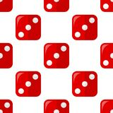 Red Dice Flat Icon Seamless Pattern Stock Photography
