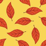 Seamless Pattern with Red Dried Beech Leaf. On Yellow Background stock illustration