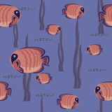 Seamless pattern red fish Stock Photography