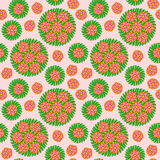 Seamless Pattern with red flower Stock Photo