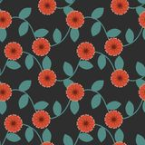 Seamless pattern. With red flowers Royalty Free Stock Photos