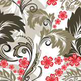 Seamless pattern with red flowers Royalty Free Stock Photo