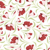 Seamless pattern with red flowers. Royalty Free Stock Photography