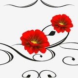 Seamless pattern with red flowers. Stock Images