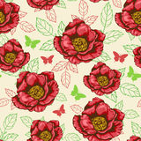 Seamless pattern with red flowers Stock Images