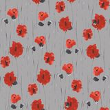Seamless pattern of red flowers of poppies on a deep gray background. Watercolor. Seamless pattern of wild red flowers of poppies on a deep gray background Royalty Free Stock Images