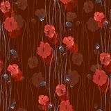 Seamless pattern of red flowers of poppies on a deep red background. Watercolor. Seamless pattern of wild red flowers of poppies on a deep red background Stock Photo