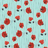 Seamless pattern of red flowers of poppies on a light blue background. Watercolor Stock Photography