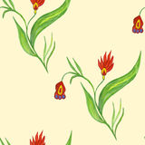 Seamless pattern with red flowers. On a stalk Stock Photo