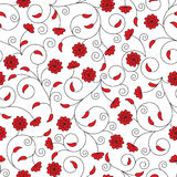Seamless pattern with red flowers Royalty Free Stock Photos