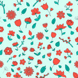 Seamless pattern red fowers vector illustration. Seamless pattern red fowers doodle hand drawn vector illustration Royalty Free Stock Image