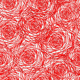 Seamless pattern with red geometric roses. Royalty Free Stock Photography