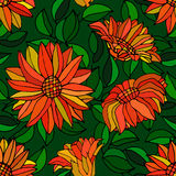 Seamless pattern with red gerbera flowers and leaves Stock Photos