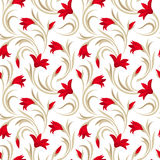 Seamless pattern with red gladiolus flowers. Seamless pattern with red gladiolus flowers and beige leaves on a white background Stock Image