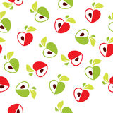 Seamless pattern of red and green apple heart on white background - vector illustration Royalty Free Stock Images