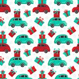 Seamless pattern red and green cars carries gifts in vector. Christmas and new year background. Cartoon toy car. Flat design