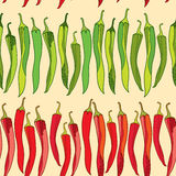 Seamless pattern with red and green chili peppers Stock Photos