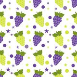 Seamless pattern with red and green grapes. For kitchen textile, wrapping paper, greeting cards and party invitations. Vector illustration Royalty Free Stock Photos