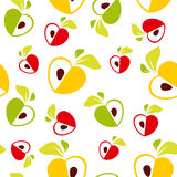 Seamless pattern of red, green and yellow apples heart on white background - vector illustration Royalty Free Stock Images
