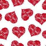 Seamless pattern with the red grunge hearts Royalty Free Stock Image