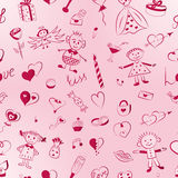 Seamless Pattern of Red Hand Drawn Set of Valentine`s Day Symbols. Children`s Cute Drawings of Hearts, Gifts, Rings, Balloons and Stock Photos