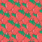 Seamless pattern with red hand drawn strawberries. Cute berries for wrapping paper, textile and packaging Stock Images